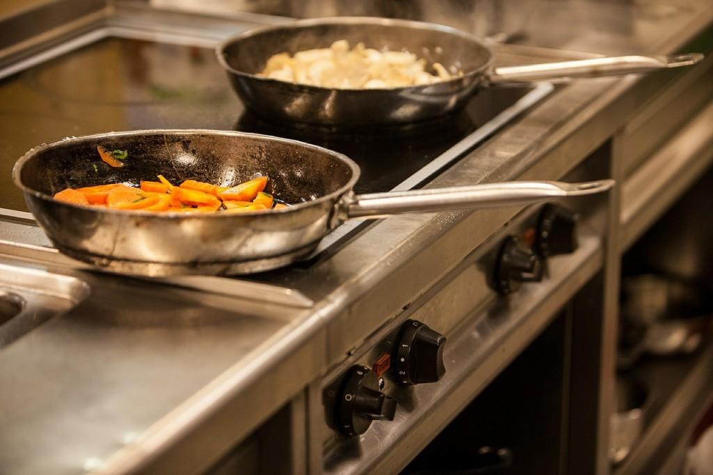 frying pan on oven