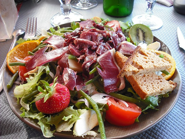 Dish with delicious summer salad
